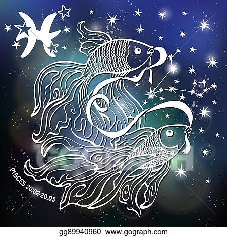 Vector Art Zodiac Sign Pisces Horoscope Blurred Space Stars Eps