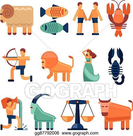 Eps Illustration Zodiac Signs In Flat Style And Astrological Icons
