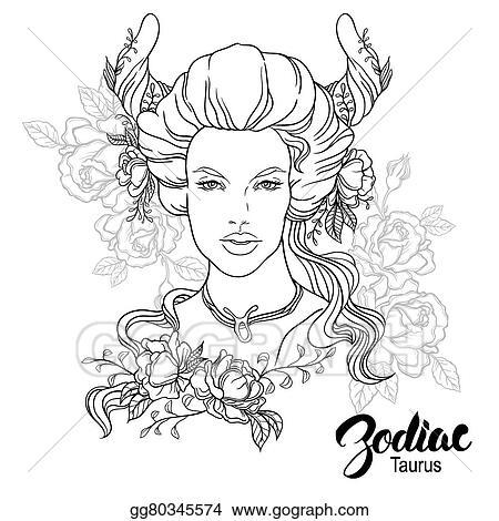 Vector Illustration Zodiac Vector Illustration Of Taurus As Girl