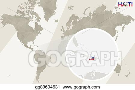 Haiti On Map Of World.Eps Vector Zoom On Haiti Map And Flag World Map Stock Clipart