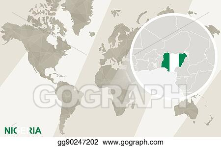 Vector Stock Zoom On Nigeria Map And Flag World Map Stock Clip