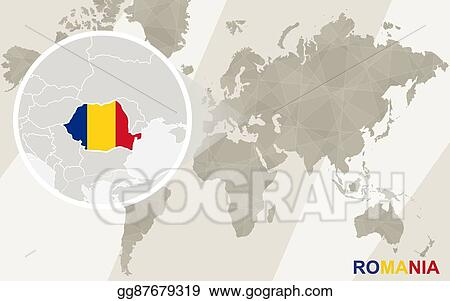 Vector Art Zoom On Romania Map And Flag World Map Eps Clipart