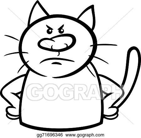 Vektorstock Zornige Katz Karikatur Färbung Seite